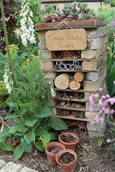 How to make a mini wildlife stack for your garden - Creepy Crawly Towers. Create a fabulous bug hotel for your garden. Diy Garden, Dream Garden, Garden Projects, Garden Art, Garden Ideas Kids, Children Garden, Summer Garden, Creative Garden Ideas, Garden Ideas For Nursery