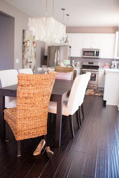 Want to do this! Dark floors, white kitchen, grey walls with white trimming from Hey Gorgeous, The Blog :: Combining the Pretty and the Playful.