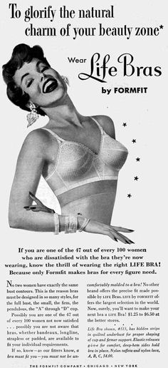 """Your """"Beauty Zone""""   Life Bras, 1954"""