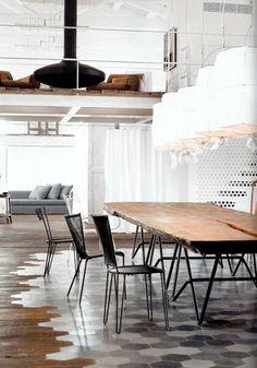 Open-Concept Loft. That floor!! {Montana Burnett's Favourite Spaces | Photo via Elle Decor Italia via Vosgesparis}