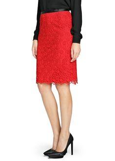 Contrast waist guipure skirt