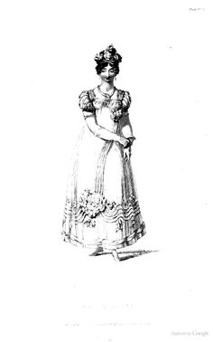 Evening Dress from Ackermann's Repository of the Arts March 1818