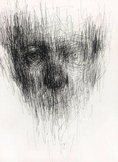 untitled pen on paper x cm by ShinKwangHo on DeviantArt Abstract Portrait, Portrait Art, Portraits, Scribble Art, Deep Art, Arte Obscura, Dark Art Drawings, Design Graphique, Art Plastique
