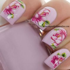 Water decals #nails #waterdecals #nailart #pink #roses