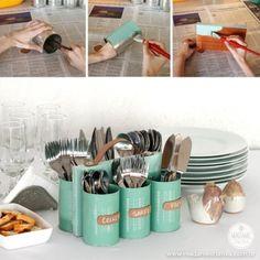 Tin can cutlery holder Fun Crafts, Diy And Crafts, Arts And Crafts, Diy Projects To Try, Craft Projects, Craft Ideas, Silverware Holder, Christmas Craft Fair, Pot A Crayon