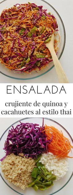 Quinoa and Peanut Crispy Thai Style Salad Good Healthy Recipes, Veggie Recipes, Asian Recipes, Diet Recipes, Vegetarian Recipes, Cooking Recipes, Vegan Recetas, Party Food Catering, Thai Salat