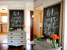 DIY How to Chalkboard art let your light shine handwritten cursive-like this whole set up for perhaps the entry way