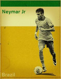 Neymar - Brazil Neymar Jr, World Cup 2014, Fifa World Cup, Neymar Brazil, Soccer Art, Best Player, Soccer Players, Baseball Cards, Child