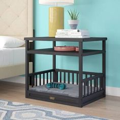 Archie & Oscar Echo Dog Bed with Nightstand and Cushion Color: Espresso Diy Dog Bed, Diy Bed, Wood Dog Bed, Built In Dog Bed, Pallet Dog Beds, Bed Pallets, Dog Furniture, Cheap Furniture, Discount Furniture