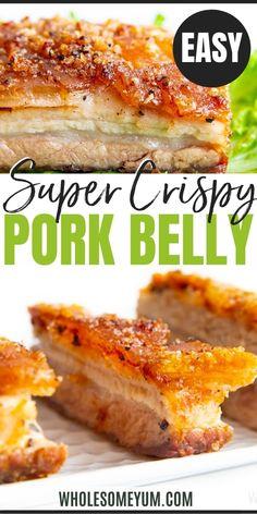 Grilled Pork Belly Recipe, Pork Belly Roast, Fried Pork Belly, Pork Roast In Oven, Crispy Pork Belly Recipes, Recipes With Pork Belly, Crispy Pork Recipe, Pork Belly Strips, Pork Strips