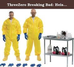 """ThreeZero Breaking Bad: Heisenberg & Jesse Hazmat Suit Combo 1:6 Scale Action Figure. From three zero. These figures feature life-like head sculpts crafted with accuracy based on the characters from the hit TV drama Breaking Bad. Both 1/6 scale figures are fully articulated with Heisenberg standing approximately 12.2"""" and Jesse standing 11.6"""". Jesse and Heisenberg come with a variety of extremely detailed accessories including Hazmat Suits, Gas Masks, a Lab Desk with equipment..."""