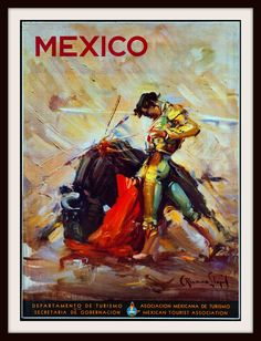 Mexico Retro Poster Mexican Travel Art Home Decor by Blivingstons Vintage Travel Wedding, Tourism Poster, Diesel Punk, Vintage Travel Posters, Poster Vintage, Vintage Airline, Travel And Tourism, Travel Ad, Travel Guide