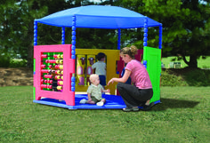 Tired of messy kids after outside play time? The Toddler Clubhouse is an outdoor shaded play house that keep your kids safe and clean! The roof covers the entire floor area.  Panels line the wall of the clubhouse and are both fun and educational!