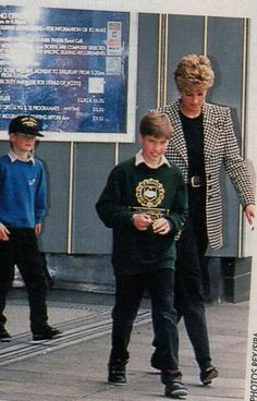 """April 19, 1993: Princess Diana with Prince William and Prince William at the """"Jungle Book""""."""