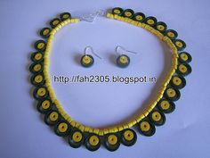 Handmade Jewelry - Paper Quilling Necklace and Earrings (1)