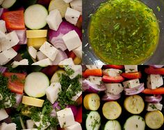 Looking for a simple vegetarian main? Thread a rainbow of onions, zucchini, yellow squash, red peppers and cheese to make grilled halloumi veggie skewers. Veggie Skewers, Grilled Halloumi, Campfire Food, Red Peppers, Cheese Recipes, Palak Paneer, Zucchini, Vegetarian Recipes, Grilling