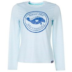 Chubby Mermaids offers playful designs for all animal and ocean lovers. This long sleeve top features a round neckline, striped bodice, and a front screenprint logo. Measures approximately 24 inches in length. With every Chubby Mermaids purchase, Bealls will donate to Save the Manatee Club: a nonprofit organization dedicated to protecting manatees and their habitats. Bodice, Neckline, Mermaids, Manatees, Long Sleeve Tops, Habitats, Logos, Ocean, Organization