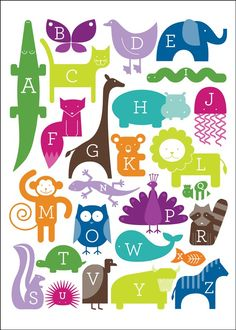 Oopsy Daisy ABC Animalia Blues Canvas Wall Art by Ampersand Design Studio, available at Alphabet Art, Animal Alphabet, Alphabet And Numbers, Animal Letters, Alphabet Quilt, Alphabet Posters, Alphabet Images, Alphabet Blocks, Blue Canvas