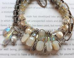 bracelet, rainbow moonstone bracelet, chalcedony bracelet, moonstone bracelet, white bracelet, boho chic bracelet, bohemian bracelet