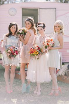 Pastel bridesmaid dresses. The Wedding Scoop Spotlight: 8 Bridesmaid Dress Trends We Love #pastel #bridesmaid #bridesmaids