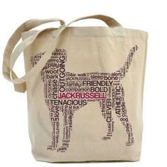 $17 - Jack Russell Typographic Tote Bag. Why not fly your Jack Russell love on an eco friendly tote? Perfect for shopping or shlepping dog toys.