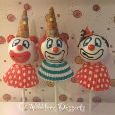 """12 """"Whiteface"""" only Circus Clowns cake pops #circus #cakepops"""