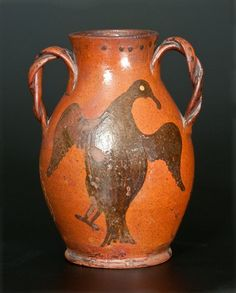 Sold $8,000 Exceedingly Rare and Important Redware Vase with Large Slip-Decorated Eagle Designs, attributed to John Betts Gregory, Clinton, Oneida Count...