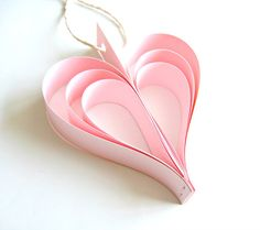 Pink Paper Heart Garland  Wedding Decoration pale pink by Pelemele, £12.50