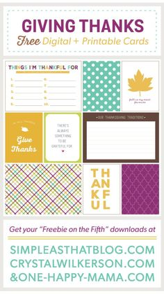 Giving Thanks Journaling and Filler Cards for Thanksgiving – simple as that