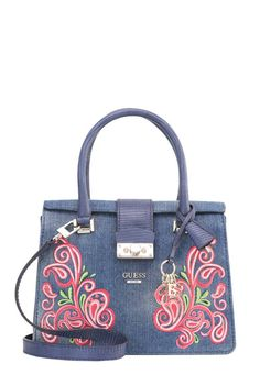 "ARIANNA - Handbag - denim. Lining:Cotton,Polyester. Compartments:mobile phone pocket. carrying handle:5.0 "" (Size One Size). Fastening:Magnet. height:8.5 "" (Size One Size). Fabric:Synthetic leather. Outer material:faux leather,cotton. width:4.5 "" (Size One Size). length:10...."