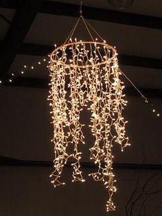 Hula Hoop + White Christmas lights = Chandelier