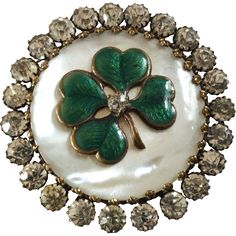 Large Antique Victorian Mother of Pearl Enamel Paste Four-Leaf-Clover Button 1 1/2'