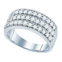 Para Mujer O Para Hombre 1 Ct 3 Fila 8,5 mm Genuino Diamante anillo de bodas anillo de compromiso