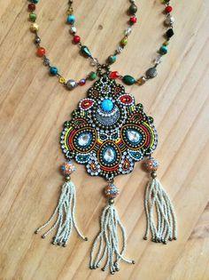 Bead Embroidery Necklace with Semi-precious Stones por perlinibella