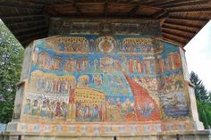 Voroneț (voro -netz) famous fresco of the Last Judgment painted on the west wall. The color was named after it: Voroneț Blue. The Last Judgment, 17th Century, Romania, Fresco, Hand Painted, Wall, Blue, Painting, Color