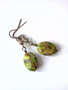 Stunning green jasper and Czech glass earrings  by PinkCupcakeJC, $10.00