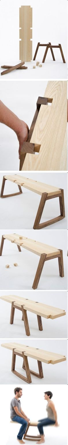 Diseño de mueble que a su vez es un juguete. // Twin Bench by Andrea Rekalidis is creative inspiration for us. Get more photo about home decor related with by looking at photos gallery at the bottom of this page. Wooden Furniture, Furniture Projects, Cool Furniture, Wood Projects, Woodworking Projects, Furniture Design, Woodworking Plans, Wood Joints, Furniture Inspiration