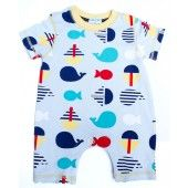 Baby Boys vintage inspired Sea Print Romper with a twist