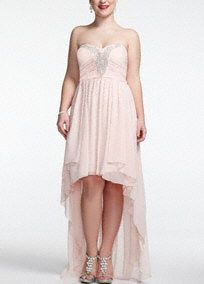 Ultra feminine and super glamorous, this whimsical chiffon high low dress and just sensational! Strapless bodice features heavily beaded sparkling bodice. High-low hemline gives this dress a light and airy feel.A popular neckline for brides seeking a stylish and versatile look (offering unlimited jewelry and accessory options).A sheer, flowing fabric that drapes well on the body.