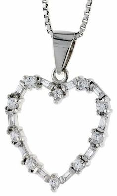 Sterling Silver Heart Pendant w/ High Quality CZ Stones, 3/4 inch (20 mm) tall Sabrina Silver. $27.26