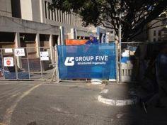 Group Five Printed Shadenet Fence Branding printed on shade net . Construction Branding, Group, Printed, Fence, Prints