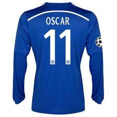 Chelsea UEFA Champions League Home Shirt 2014/15 - Long Sleeve Blue with Oscar 11 printing