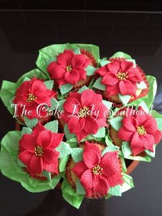 Poinsettia cupcake bouquet  Cake by TheCakeLadySouthend