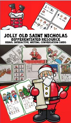 Old Saint Nicholas Interactive and Differentiated Book. This is a favorite Christmas song. This poem/song which includes an interactive book is a great one for Circle Time or to set up in a Reading Center. This has been differentiated so that a variety of students are able to use it. Perfect for preschool, kindergarten, first grade, and special education as a circle time read aloud, reading center activity, writing center. It includes a writing prompt, coloring page, and conversation cards