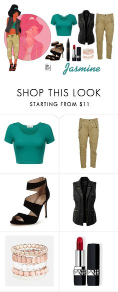 """""""Aladdin: If Jasmine went to College"""" by lunaheart13 ❤ liked on Polyvore featuring Disney, Dsquared2, Carvela, LE3NO, Avenue, Christian Dior and MAC Cosmetics"""