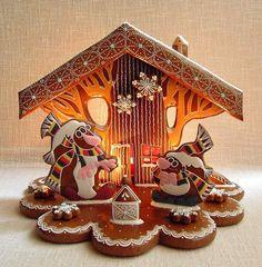 pařezová chaloupka zimní - fotoalba ulivatelu - Dáma.cz Gingerbread House Designs, Christmas Gingerbread House, Gingerbread Cookies, Gingerbread Houses, Hungarian Cookies, Biscuits, Christmas Goodies, Royal Icing, Sugar Cookies