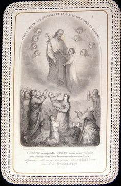 Joseph In Heaven Vintage Holy Cards, Religion Catolica, St Joseph, French Lace, French Antiques, Catholic, Saints, Reyes, Heaven