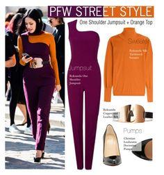 """PFW STREET STYLE-One Shoulder Jumpsuit + Orange Top"" by kusja ❤ liked on Polyvore featuring Roksanda, Christian Louboutin, StreetStyle, PFW, fashionWeek and parisfashionweek"