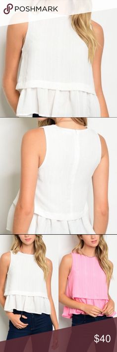 New Arrival White Ruffle Peplum Top Gorgeous sleeveless white peplum top. This top has a pattern of vertical stripes and a feminine flow. Zipper closure in back. 100% polyester Buy single piece or add to a bundle for savings at purchase. No trading. Price is firm. Boutique Tops