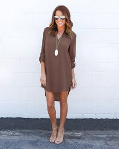 Simple Fashion Chiffon V Neck Dip Hem Short Dress